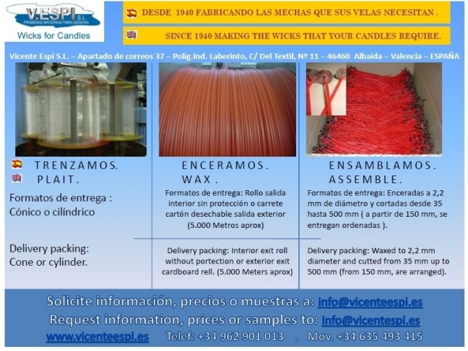 NUESTRO TRABAJO / OUR WORK - MECHAS / PABILOS /  WICKS